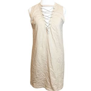 Forever 21 Nude Lace Up Tank Top T-Shirt Dress